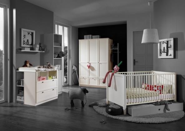 Dětská sestava Filou - Set, skříň, postýlka, přebalovací pult (alpská bílá)