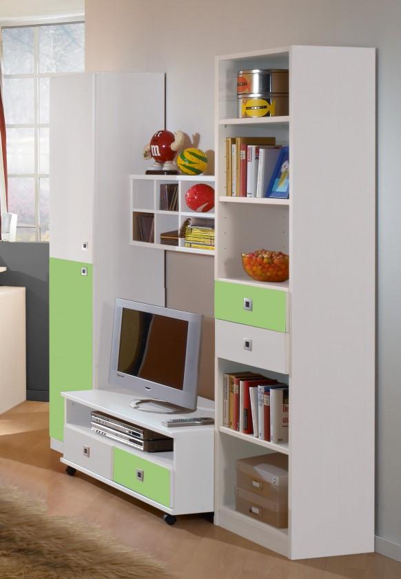 Dětská sestava Sunny - Obývací stěna (alpská bílá se zeleným jablkem)