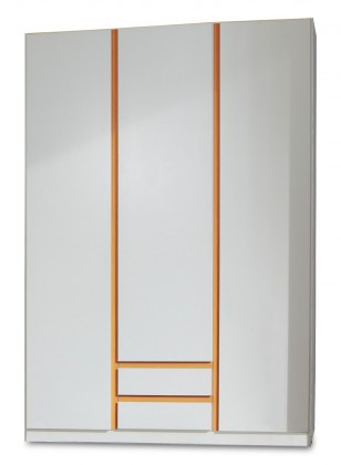 Dětská skříň Bibi - Skříň, třídveřová se zásuvkou (alpská bílá, oranžová)