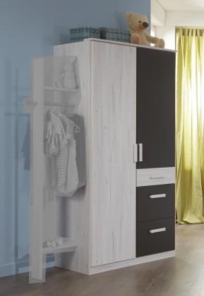 Dětská skříň Cariba - Skříň dvoudveřová se zásuvkou (bílá dub, černá láva)