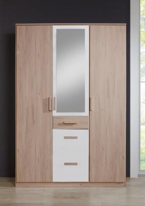 Dětská skříň Cariba - Skříň třídveřová se zrcadlem (san remo dub, bílá)