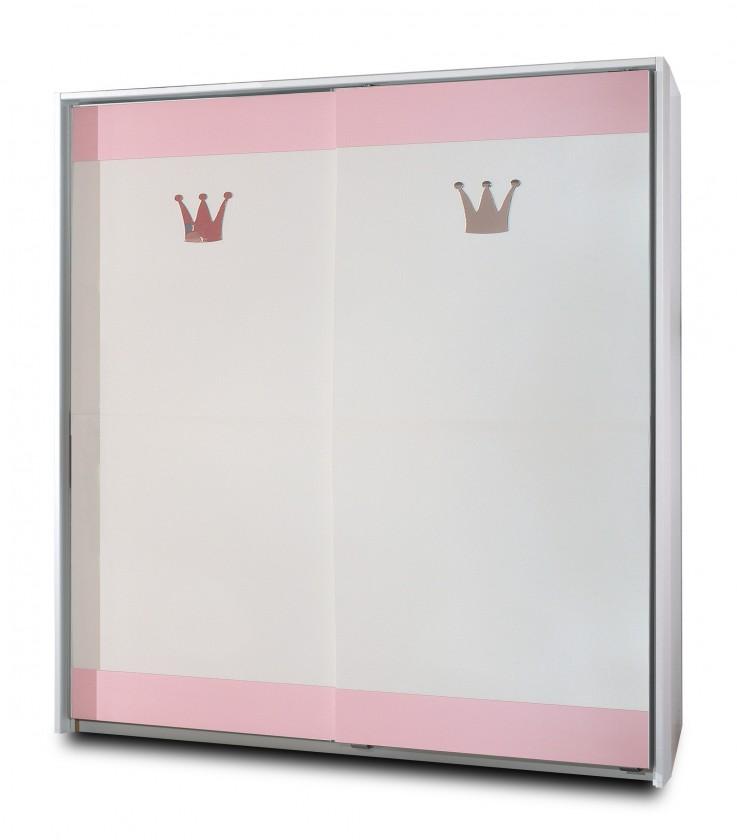 Dětská skříň Cinderella - Skříň s posuvnými dveřmi (bílá, růžová)