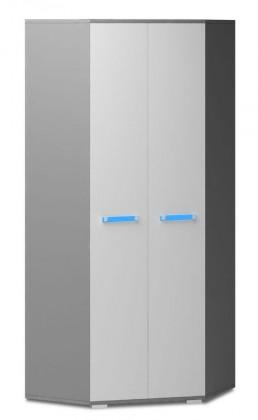 Dětská skříň Diego 05 - Skříň (přední strana bílá/šedé boky/modrý úchyt)