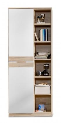 Dětská skříň Game - Skříň, 1 dveřová, police (bílá, dub)