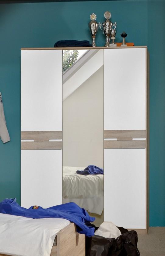 Dětská skříň Game - Skříň, 2 dveřová, se zrcadlem (bílá, dub)