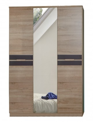 Dětská skříň Game - Skříň, 2 dveřová, se zrcadlem (dub, černá)
