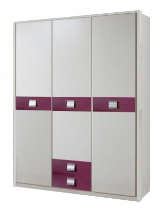 Dětská skříň Jette - 366472 (alpská bílá / ostružina)