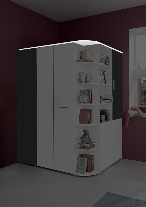 Dětská skříň Joker - Doplňkový strop k šatní skříni (bílá, antracit)