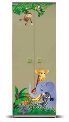Dětská skříň Junior - Skříň, džungle 1 (bříza/zelená)