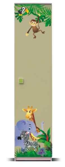 Dětská skříň Junior - Skříň, džungle 2 (bříza/zelená)