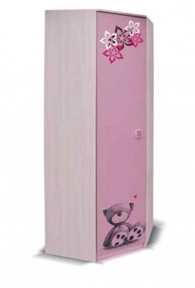 Dětská skříň Junior - Skříň, medvídek 3 (bříza/růžová)
