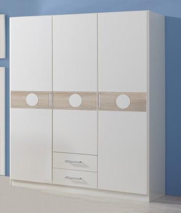 Dětská skříň Kimba - Skříň třídveřová se zásuvkou (bílá, dub)