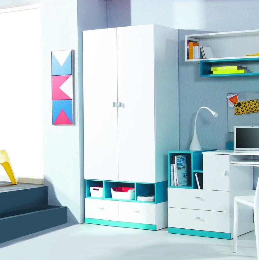 Dětská skříň MOBI MO 2 (bílá lesk/tyrkysová)