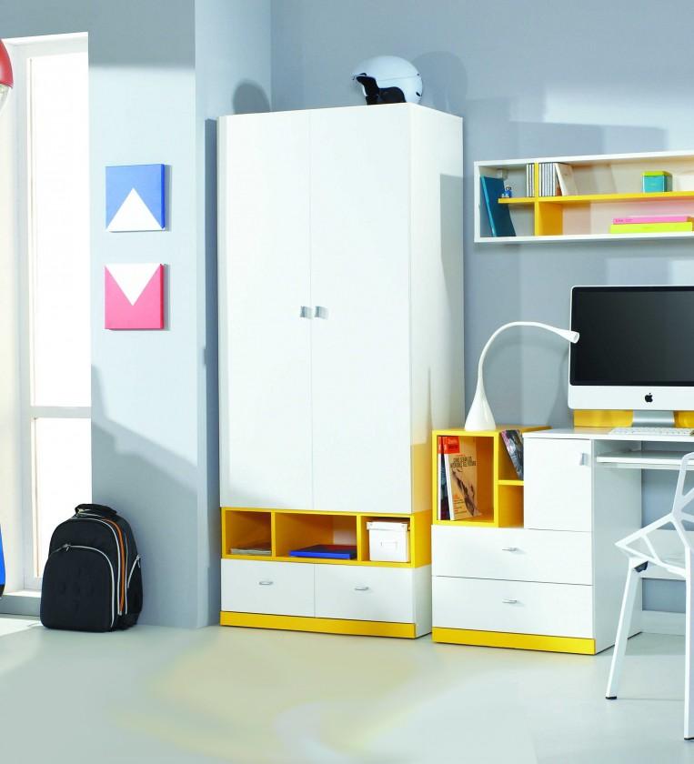 Dětská skříň MOBI MO 2 (bílá lesk/žlutá)