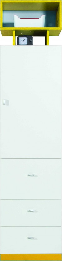 Dětská skříň MOBI MO 4 L/P (bílá lesk/žlutá)