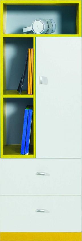 Dětská skříň MOBI MO 7 (bílá lesk/žlutá)