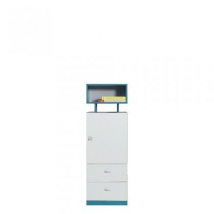 Dětská skříň MOBI MO 8 L/P (bílá lesk/tyrkysová)