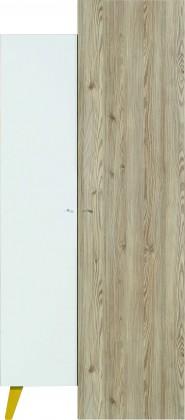 Dětská skříň SAJMON SJ 10 L/P + 3 L/P (modřín/bílá lesk/žlutá)