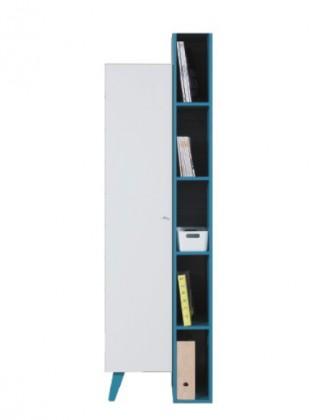 Dětská skříň SAJMON SJ 10 L/P + 6 (modřín/bílá lesk/tyrkysová)