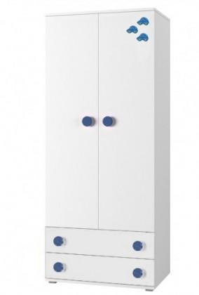 Dětská skříň Simba 1(korpus bílá/front bílá a modré autíčko)