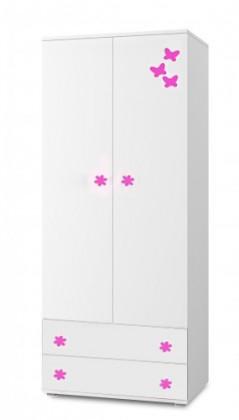 Dětská skříň Simba 1(korpus bílá/front bílá a růžový motýlek)