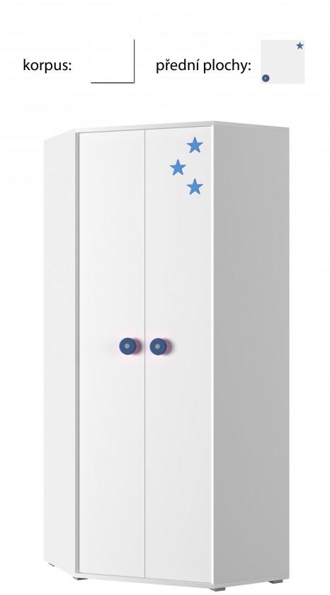 Dětská skříň Simba 6(korpus bílá/front bílá a modrá)