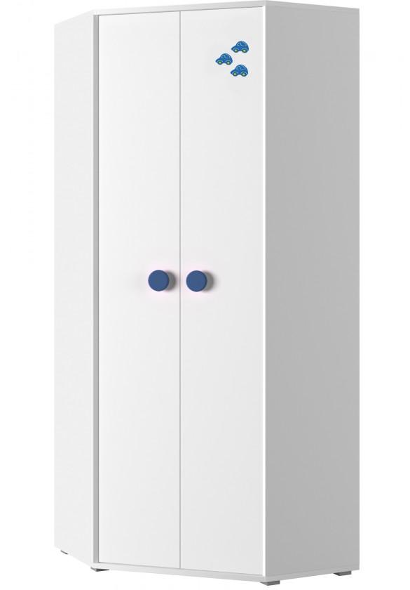 Dětská skříň Simba 6(korpus bílá/front bílá a modré autíčko)