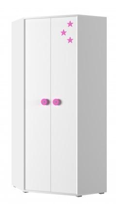 Dětská skříň Simba 6(korpus bílá/front bílá a růžová)