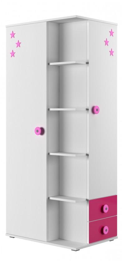 Dětská skříň Simba 7(korpus bílá/front bílá a růžová)