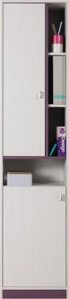 Dětská skříň Stone - Skříň s policemi ST4 (bílá, fialová)