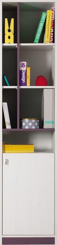 Dětská skříň Stone - Skříň s policemi ST6 + P/L (bílá, fialová)