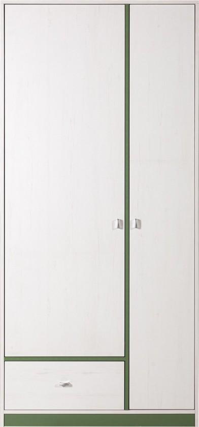 Dětská skříň Stone - Skříň ST3 (bílá, zelená)