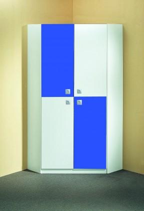 Dětská skříň Sunny - Skříň rohová (alpská bílá s modrou)
