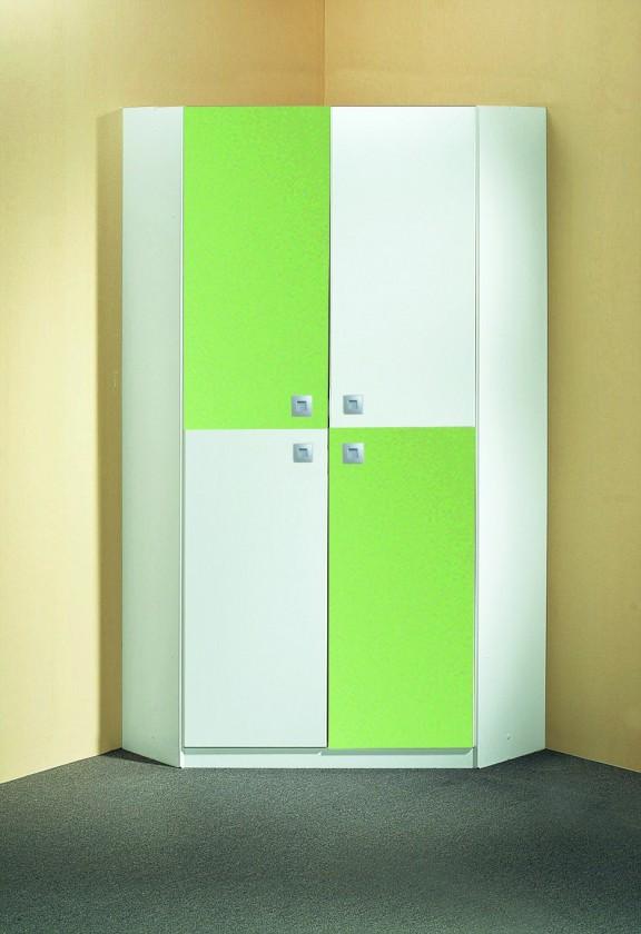 Dětská skříň Sunny - Skříň rohová (alpská bílá se zeleným jablkem)