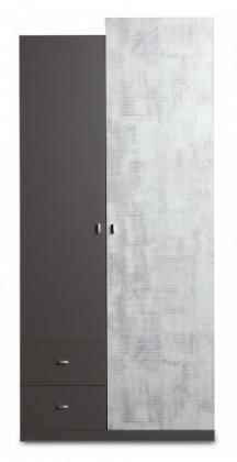 Dětská skříň Tablo - šatní skříň, 2x dveře, 2x zásuvka (grafit/enigma)