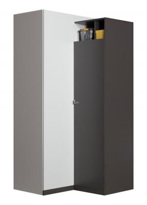 Dětská skříň Tablo - šatní skříň, 2x dveře, 90 cm (grafit/bílá,lesk/atlantic)