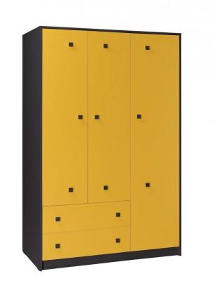 Dětská skříň Tommy 1 (šedá/žlutá)