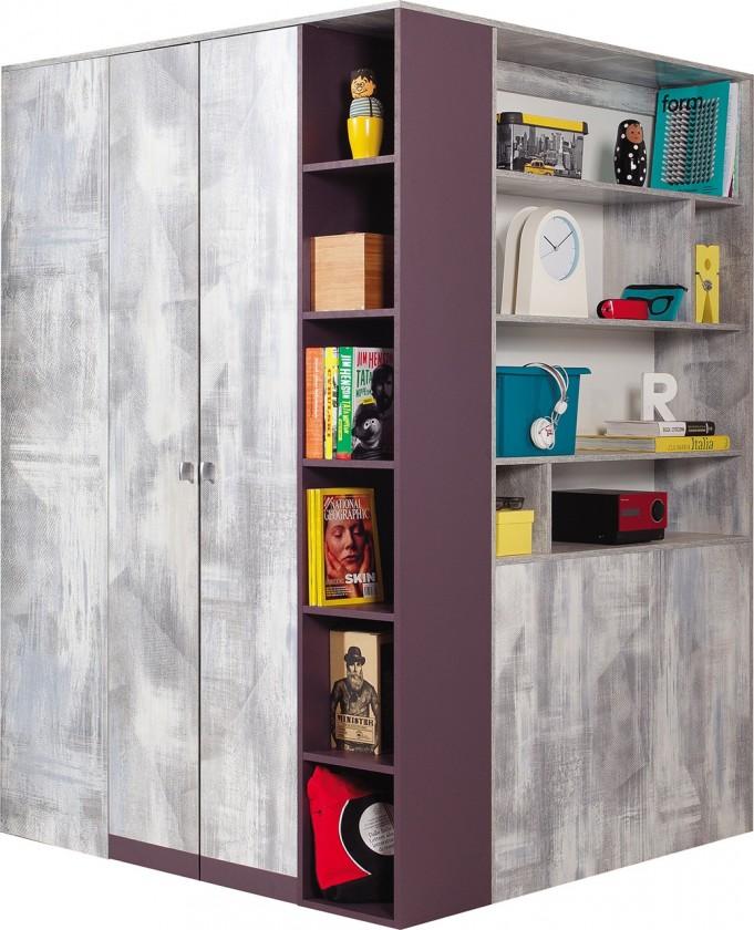 Dětská skříň Zoom - Rohová šatní skříň ZM1 P/L (antic, fialová)