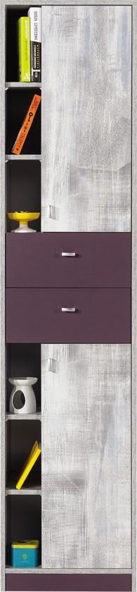 Dětská skříň Zoom - Skříň s policemi a zásuvkou ZM5 (antic, fialová)