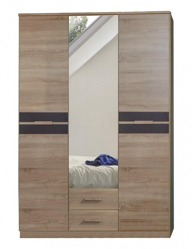 Dětské pokoje ZLEVNĚNO Game - Skříň, 2 dveřová, se zrcadlem a zásuvkami (dub, černá)