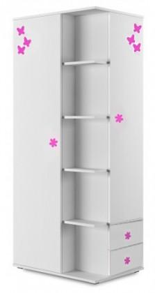 Dětské pokoje ZLEVNĚNO Simba 7(korpus bílá/front bílá a růžový motýlek)