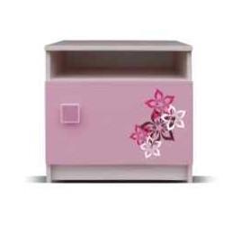 Dětský noční stolek Junior - Noční stolek, medvídek 17 (bříza/růžová)