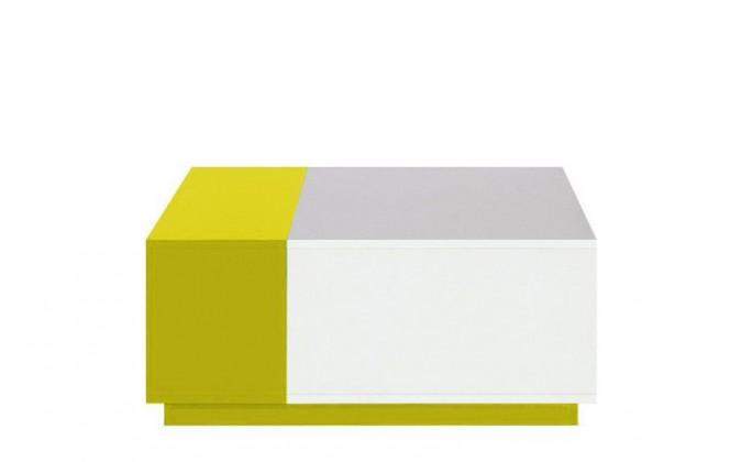 Dětský noční stolek MOBI MO 16 (bílá lesk/žlutá)