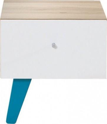 Dětský noční stolek SAJMON SJ 12 L/P (modřín/bílá lesk/tyrkysová)