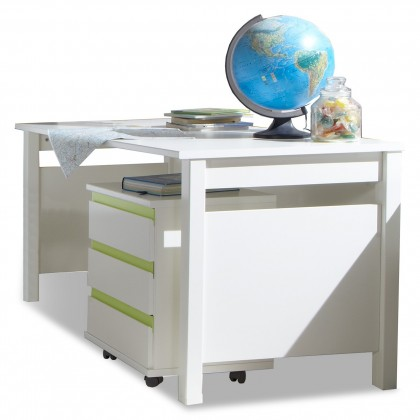 Dětský pracovní stůl Bibi - Pracovní stůl, mobilní regál (alpská bílá, zelené jablko)