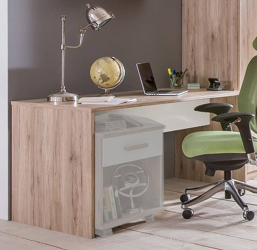 Dětský pracovní stůl Cariba - Pracovní stůl (san remo dub, bílá)
