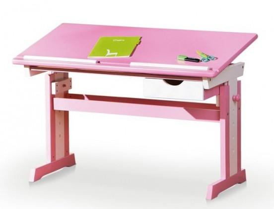 Dětský pracovní stůl Cecilia (růžová/bílá)
