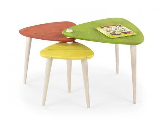 Dětský pracovní stůl Corsica - Trojstolek, barevný (žlutý, oranžový, zelený)