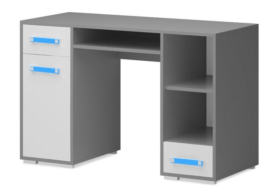 Dětský pracovní stůl Diego 11 - Stůl (přední strana bílá/šedé boky/modrý úchyt)