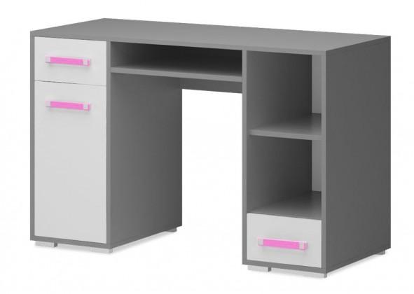 Dětský pracovní stůl Diego 11 - Stůl (přední strana bílá/šedé boky/růžový úchyt)